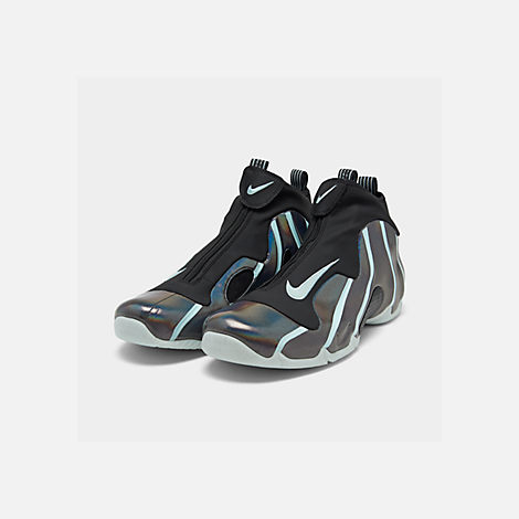 9f8434f06dff Three Quarter view of Men s Nike Air Flightposite Basketball Shoes in Black Topaz  Mist