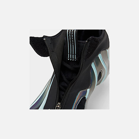 Front view of Men's Nike Air Flightposite Basketball Shoes in Black/Topaz Mist
