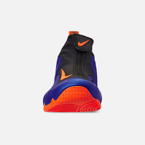 Front view of Men's Nike Air Flightposite Basketball Shoes in Racer Blue/Total Orange/Black