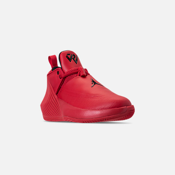 Three Quarter view of Big Kids' Air Jordan Why Not Zer0.1 Low Basketball Shoes in University Red/Black