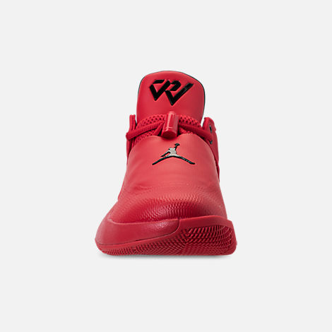 Front view of Big Kids' Air Jordan Why Not Zer0.1 Low Basketball Shoes in University Red/Black