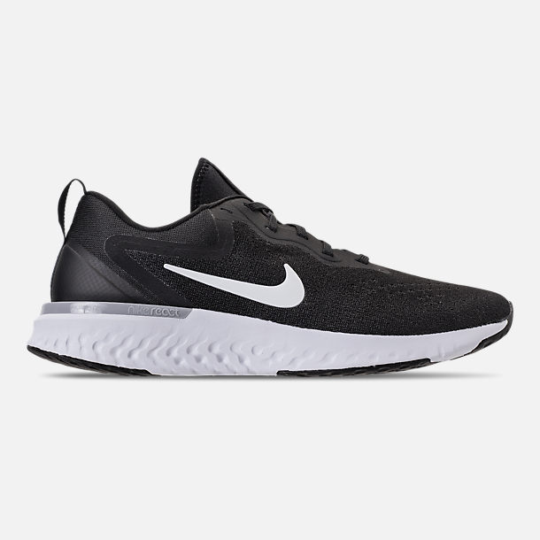 Right view of Women's Nike Odyssey React Running Shoes in Black/White/Wolf  Grey