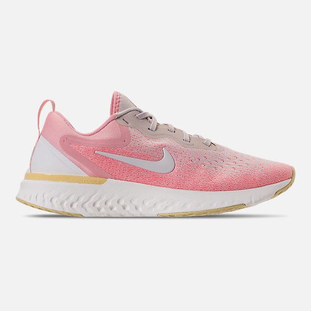 Right view of Women's Nike Odyssey React Running Shoes in Desert Sand/Sail/Light Atomic Pink