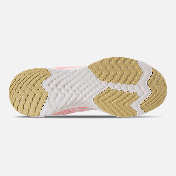 Bottom view of Women's Nike Odyssey React Running Shoes in Desert Sand/Sail/Light Atomic Pink