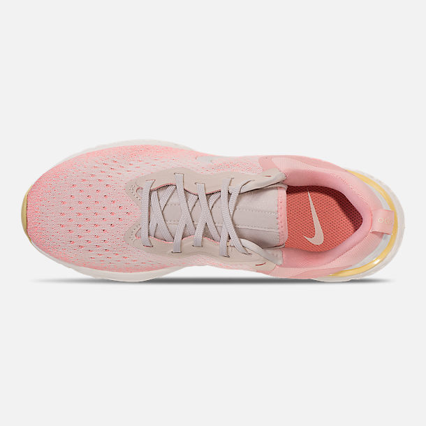 Top view of Women's Nike Odyssey React Running Shoes in Desert Sand/Sail/Light Atomic Pink