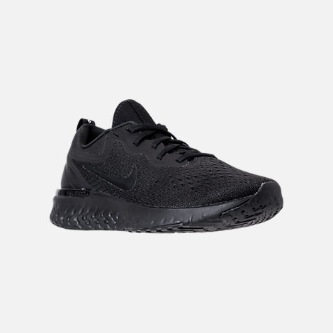 Three Quarter view of Women's Nike Odyssey React Running Shoes in Black/Black/Black