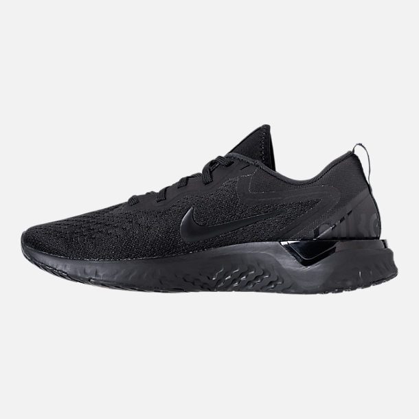 Left view of Women's Nike Odyssey React Running Shoes in Black/Black/Black