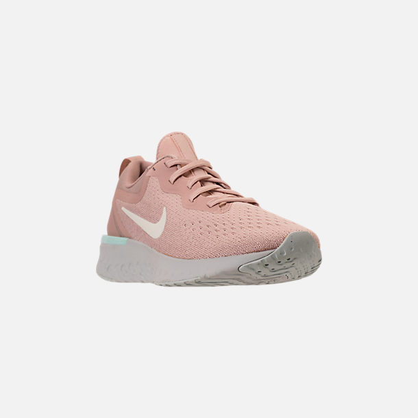 Three Quarter view of Women's Nike Odyssey React Running Shoes in Particle Beige/Phantom/Diffused Taupe