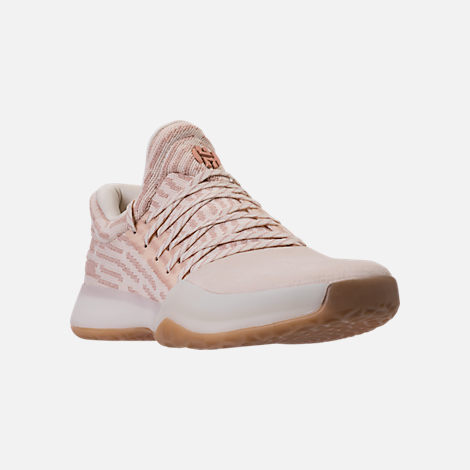 Three Quarter view of Men's adidas Harden Vol.1 Basketball Shoes in Ashpea/Chalk White/Footwear White
