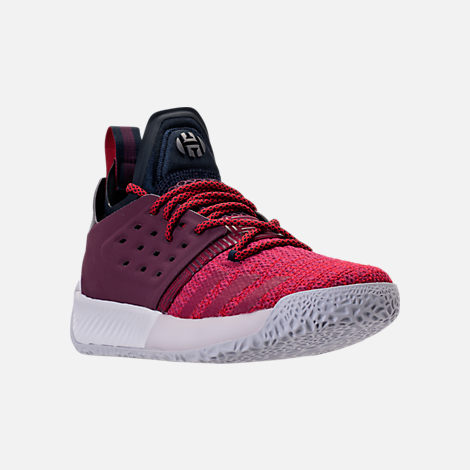 Three Quarter view of Boys' Grade School adidas Harden Vol. 2 Basketball Shoes in Legend Ink/Mystery Ruby