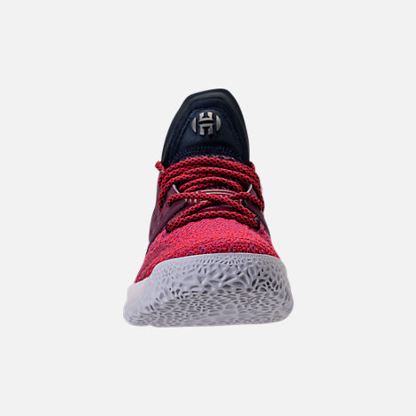 Front view of Boys' Grade School adidas Harden Vol. 2 Basketball Shoes in Legend Ink/Mystery Ruby
