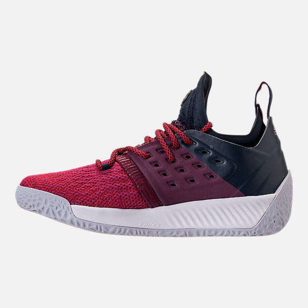 Left view of Boys' Grade School adidas Harden Vol. 2 Basketball Shoes in Legend Ink/Mystery Ruby