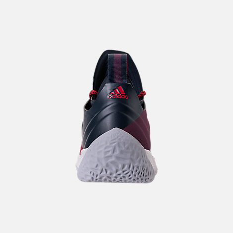 Back view of Boys' Grade School adidas Harden Vol. 2 Basketball Shoes in Legend Ink/Mystery Ruby