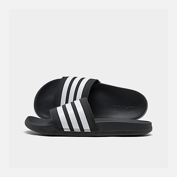 3db12463f6e Right view of Women s adidas adilette Cloudfoam Plus Slide Sandals in  Black White