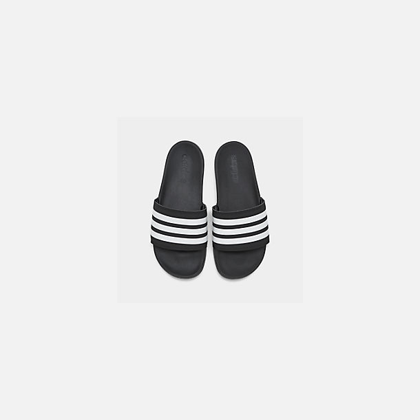Back view of Women's adidas adilette Cloudfoam Plus Slide Sandals in Black/White