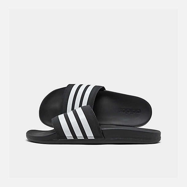 Right view of Men's adidas Adilette Cloudfoam Plus Slide Sandals in Black