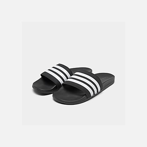 Three Quarter view of Men's adidas Adilette Cloudfoam Plus Slide Sandals in Black