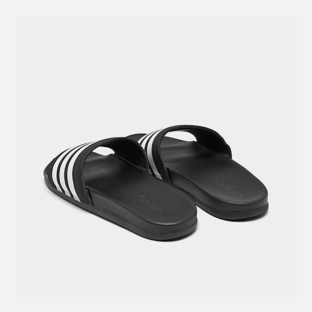 Left view of Men's adidas Adilette Cloudfoam Plus Slide Sandals in Black