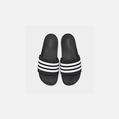 Back view of Men's adidas Adilette Cloudfoam Plus Slide Sandals in Black