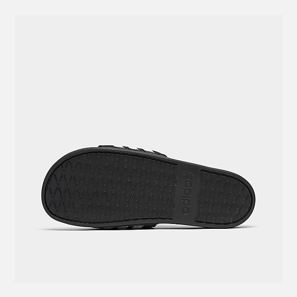Bottom view of Men's adidas Adilette Cloudfoam Plus Slide Sandals in Black