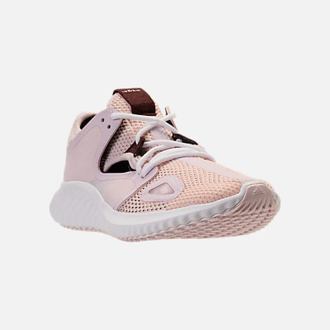Three Quarter view of Women's adidas Run Lux Clima Running Shoes in Orchid Tint/White/Night Red