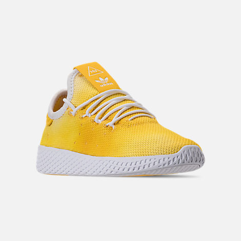 Three Quarter view of Boys' Little Kids' adidas Originals Pharrell Williams Tennis HU Casual Shoes in Bright Orange/Footwear White