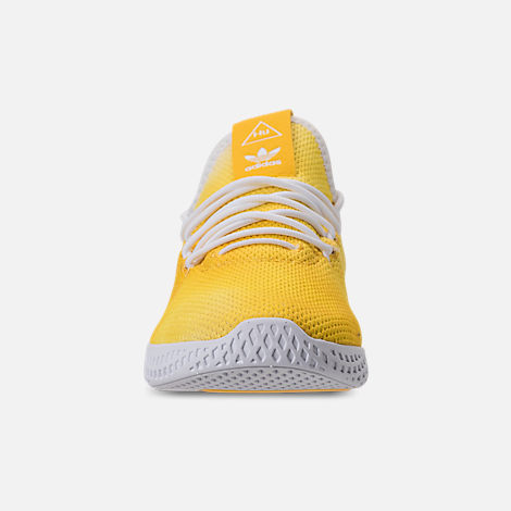 Front view of Boys' Little Kids' adidas Originals Pharrell Williams Tennis HU Casual Shoes in Bright Orange/Footwear White