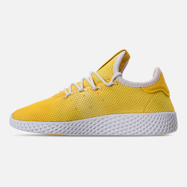 Left view of Boys' Little Kids' adidas Originals Pharrell Williams Tennis HU Casual Shoes in Bright Orange/Footwear White
