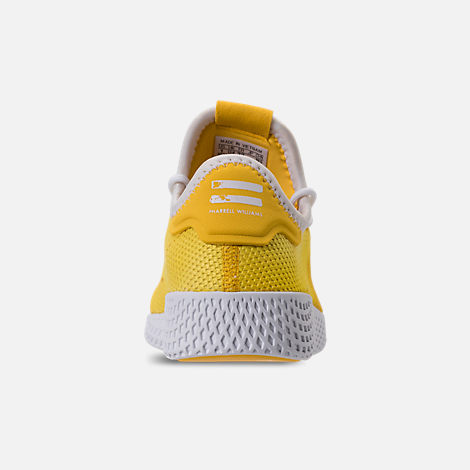 Back view of Boys' Little Kids' adidas Originals Pharrell Williams Tennis HU Casual Shoes in Bright Orange/Footwear White