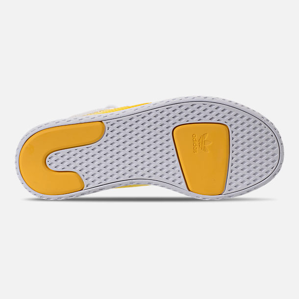 Bottom view of Boys' Little Kids' adidas Originals Pharrell Williams Tennis HU Casual Shoes in Bright Orange/Footwear White