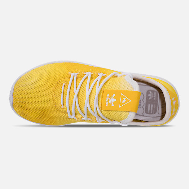Top view of Boys' Little Kids' adidas Originals Pharrell Williams Tennis HU Casual Shoes in Bright Orange/Footwear White