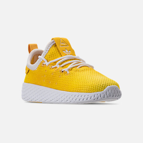 Three Quarter view of Boys' Toddler adidas Originals Pharrell Williams Tennis HU Casual Shoes in Bright Orange/Footwear White