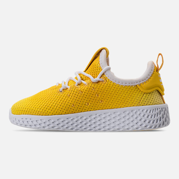 Left view of Boys' Toddler adidas Originals Pharrell Williams Tennis HU Casual Shoes in Bright Orange/Footwear White