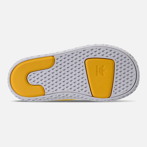 Bottom view of Boys' Toddler adidas Originals Pharrell Williams Tennis HU Casual Shoes in Bright Orange/Footwear White