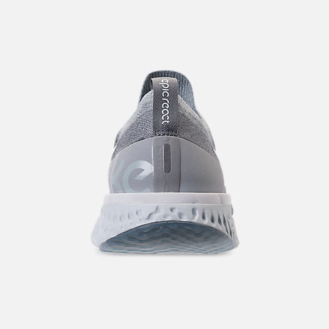 cd5b16ed0ce5 Back view of Men s Nike Epic React Flyknit Running Shoes in Wolf Grey White