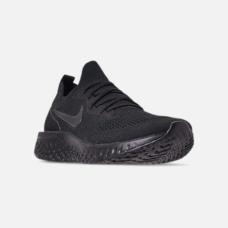 Three Quarter view of Men's Nike Epic React Flyknit Running Shoes in Triple Black