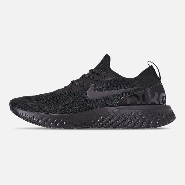 Left view of Men's Nike Epic React Flyknit Running Shoes in Triple Black