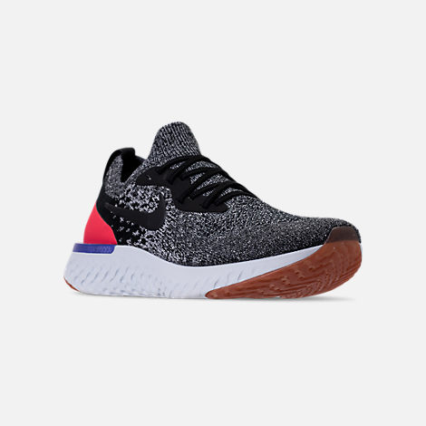 Three Quarter view of Men's Nike Epic React Flyknit Running Shoes in Black/White/Red Orbit