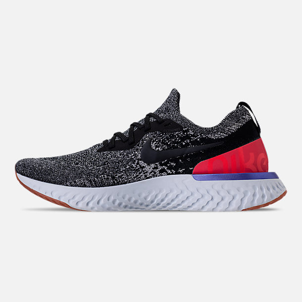Left view of Men's Nike Epic React Flyknit Running Shoes in Black/White/Red Orbit