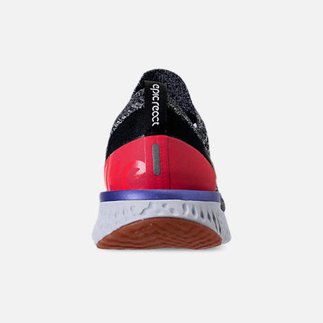 Back view of Men's Nike Epic React Flyknit Running Shoes in Black/White/Red Orbit