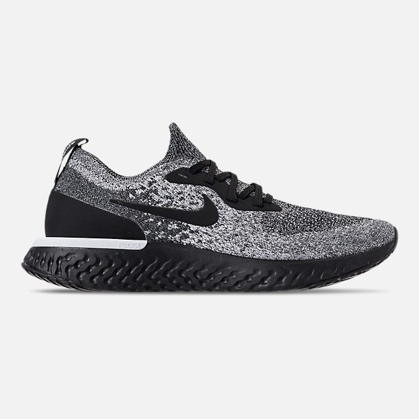 Right view of Men's Nike Epic React Flyknit Running Shoes in Black/White