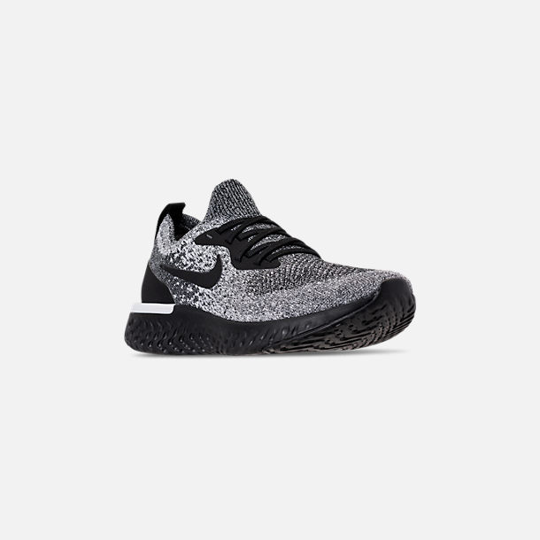 338119e8a40aa Three Quarter view of Men s Nike Epic React Flyknit Running Shoes in Black  White