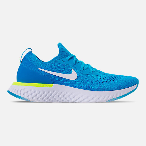 Right view of Men's Nike Epic React Flyknit Running Shoes in Blue Glow/White/Photo Blue/Volt
