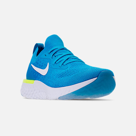Three Quarter view of Men's Nike Epic React Flyknit Running Shoes in Blue Glow/White/Photo Blue/Volt