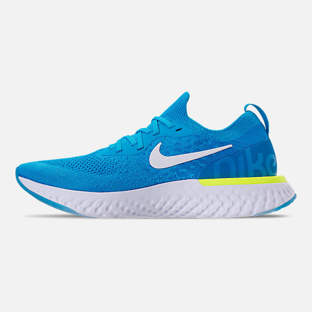 Left view of Men's Nike Epic React Flyknit Running Shoes in Blue Glow/White/Photo Blue/Volt