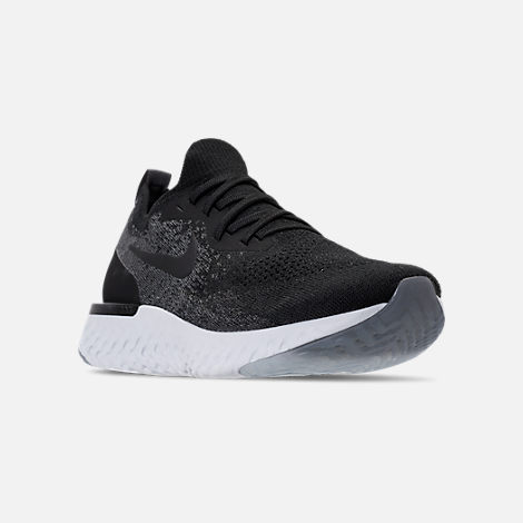 Three Quarter view of Women's Nike Epic React Flyknit Running Shoes in Black/Dark Grey/Pure Platinum