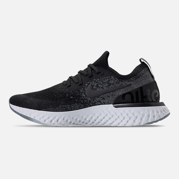 Left view of Women's Nike Epic React Flyknit Running Shoes in Black/Dark Grey/Pure Platinum