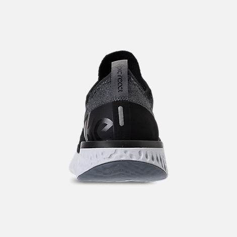 Back view of Women's Nike Epic React Flyknit Running Shoes in Black/Dark Grey/Pure Platinum