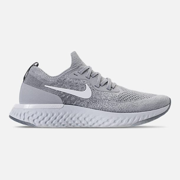 fee376e669cd8 Right view of Women s Nike Epic React Flyknit Running Shoes in Wolf  Grey White