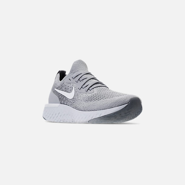 Three Quarter view of Women's Nike Epic React Flyknit Running Shoes in Wolf Grey/White/Cool Grey/Pure Platinum